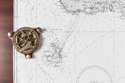 Nautical chart with compass, nautical concept