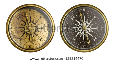nautical compass isolated on white collection