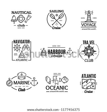 Nautical Emblem Badges or Labels Black Line Art Set on a White for Ocean and Sea Company. illustration