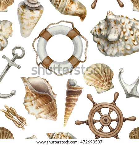 nautical seamless pattern with...