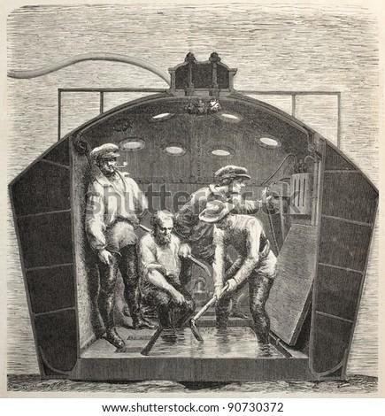 Nautilus submarine interior old illustration. Created by Feyen, published on L'Illustration, Journal Universel, Paris, 1858