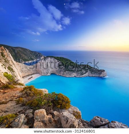 Navagio Beach (Shipwreck beach) at sunset on Zakynthos Island, Greece #312416801