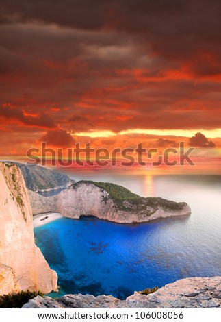 Navagio beach with shipwreck  in Zakynthos Island, Greece, part of Ionian Islands