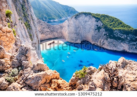 Navagio beach with the famous wrecked ship in Zante, Greece #1309475212
