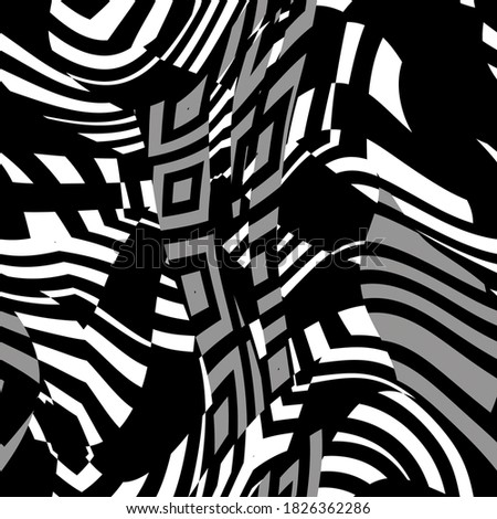 Naval ship dazzle camouflage texture pattern. Seamless abstract painted war disguise background. Military combat hide blur camo effect. Stock photo ©