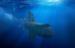 Naval submarine on a mission travelling under water