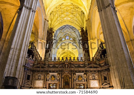 Nave of the Cathedral of Seville, Andalusia, Spain