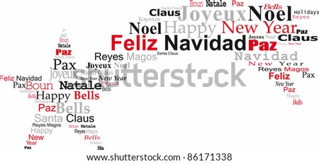 navidad comet, with congratulations in several languages, white bottom