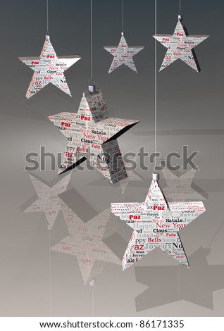 navidad stars' illustration, with words  in different languages