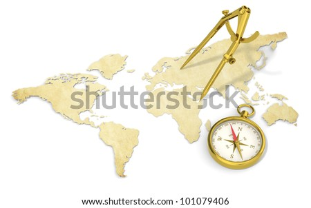 Navigate. A World Map in 3D. Paper Shape, thin and Antique style.  Brass Divider and Compass.