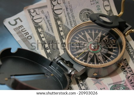 Navigating compass against dollars and euro