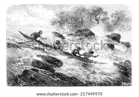 Navigating the Rapids in Oiapoque, Brazil, drawing by Riou from a sketch by Dr. Crevaux, vintage engraved illustration. Le Tour du Monde, Travel Journal, 1880 Photo stock ©