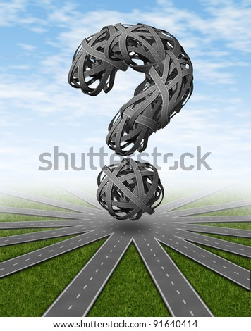 Navigation and places to go travel symbol with a network of connected roads and a dimensional question mark as tangled confused highways as a concept of asking for directions and GPS pilot assistance.