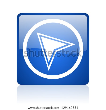 navigation blue square glossy web icon on white background