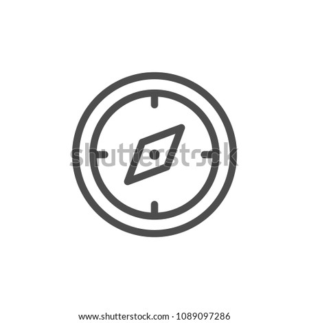 Navigation compass line icon isolated on white