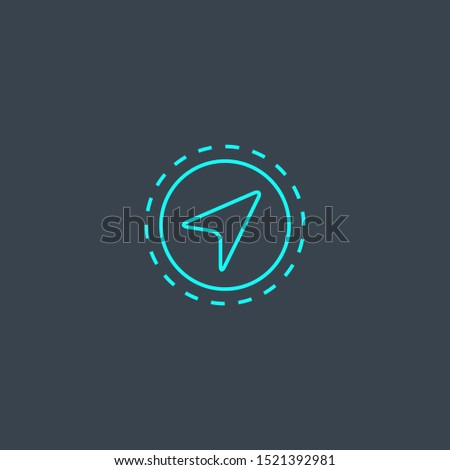 Navigation concept blue line icon. Simple thin element on dark background. Navigation concept outline symbol design. Can be used for web and mobile UI/UX