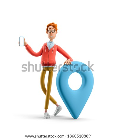 Navigation concept. Nerd Larry with pin sign. 3d illustration. Сток-фото ©