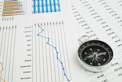 Navigation in financial world, compass on financial charts and graphs