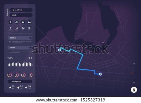 Navigation map. Gps mobile interface with route on city street and location pins. App roadmap tracker ui