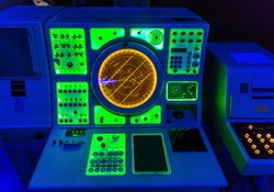 Navigation marine radar on captain's bridge.