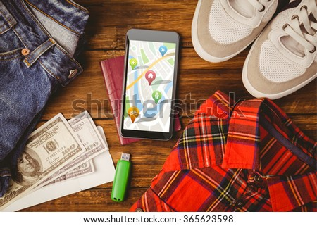 Navigation pointers with various representations on map against differents objects using for adventure - Shutterstock ID 365623598