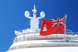 Navigation system of superyacht with a Cayman Island's flag
