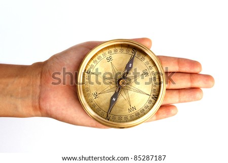 Navigational compass in the hand