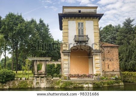 Naviglio Grande (Milan, Lombardy, Italy) - Villa Gaia, ancient palace on the canal and its park
