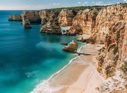 Navy Beach (Praia da Marinha) - one of the most famous beaches of Portugal, located on the Atlantic coast in Lagoa Municipality, Algarve.
