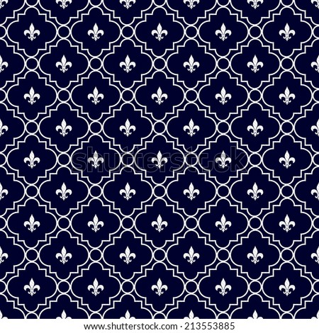 Navy Blue And White Fleur De Lis Pattern Textured Fabric Background