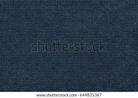 Navy blue background of soft, fleecy cloth. Texture of light dark denim nappy textile, closeup. #644835367