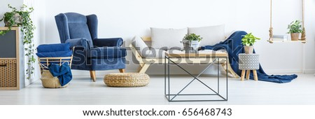 Navy blue decor in white stylish living room #656468743