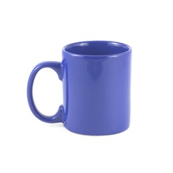 Navy blue empty tea or coffee cup front view isolated on white