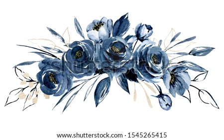 Navy blue flowers watercolor, floral clip art. Bouquet roses perfectly for printing design on invitations, cards, wall art and other. Arrangement isolated on white background. Hand painting.  ストックフォト ©