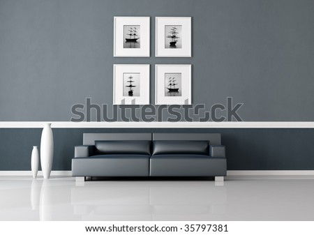 navy blue interior with modern leather sofa -rendering,the image on wall are my composition