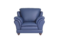Navy blue leather sofa isolated on white background