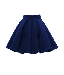 Navy blue skirt isolated on a white background. Back view.