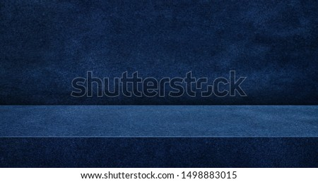 navy blue suede leather texture table product display background.3d perspective studio photography stand.banner mokc up space for showcase product.empty countertop backdrop.buseiness presentation