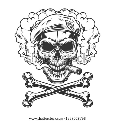 Navy seal skull wearing beret and smoking cigar in smoke cloud with crossbones in vintage monochrome style isolated illustration