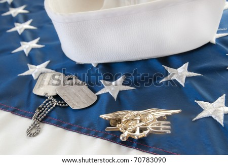 Navy SEAL trident on flag