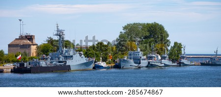 Navy warships moored at the wharf in the port of Gdynia, Poland.
