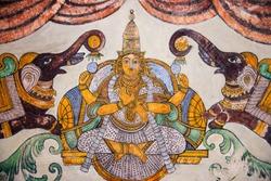 Nayaka painting of Gajalakshmi on the inside wall of the cloister mandappa. Brihadishvara Temple, Thanjavur, Tamil Nadu, India