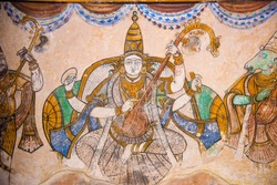 Nayaka painting of Saraswati on the inside wall of the northern cloister mandappa. Brihadishvara Temple, Thanjavur, Tamil Nadu, India