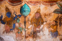 Nayaka painting on the inside wall of the cloister mandappa. Brihadishvara Temple, Thanjavur, Tamil Nadu, India