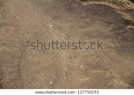 Nazca Lines, Aerial View, Peru, The Hummingbird