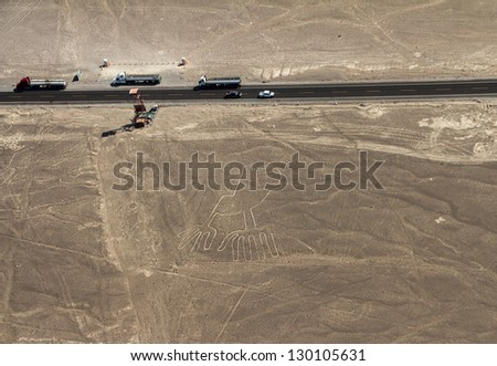 Nazca Lines, Aerial View with highway, Peru
