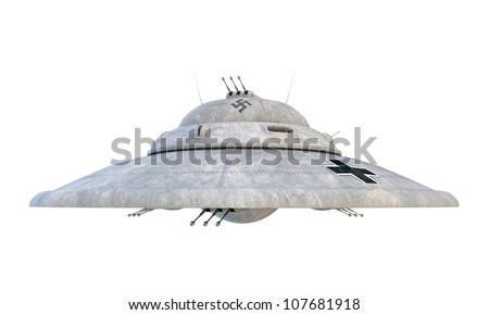 nazi ufo haunebu isolated on white background