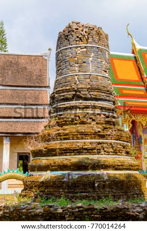 ncient stupa near the temple in Thailand