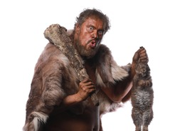 Neanderthal man, Ice Age, caveman with a hare