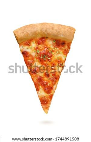 Neapolitan pizza Margherita isolated on white background. One slice, top view. Stockfoto ©